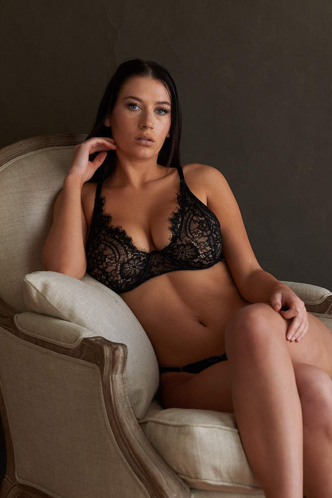 Malia Black Lace Plunge Bra - Colette And Sebastian