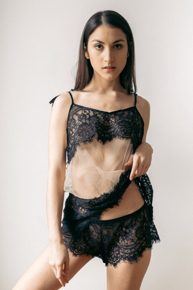 Malia Sheer Lace Teddy - Cami and Short Set - Colette And Sebastian