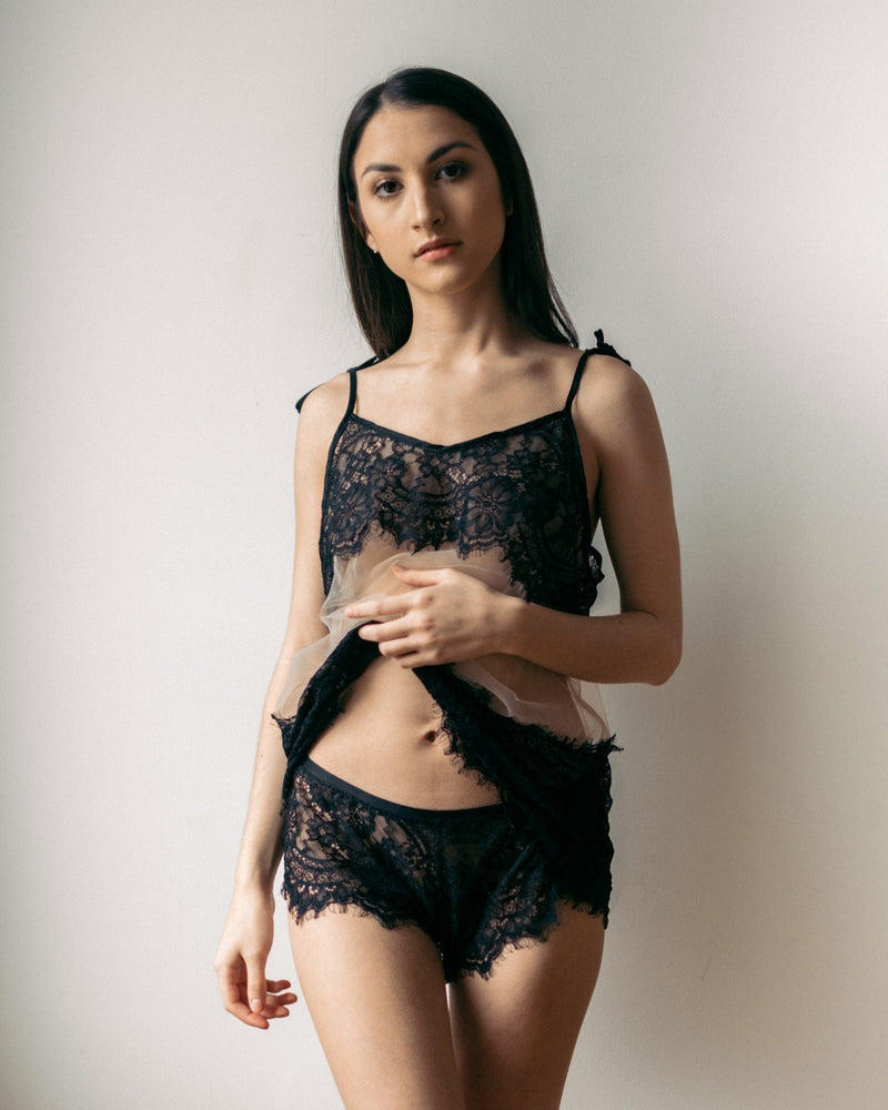 Sheer with Black Lace Malia Lace Teddy - Cami and Short Set