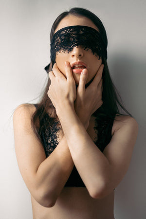 Load image into Gallery viewer, Malia Black Lace Blindfold - Colette And Sebastian