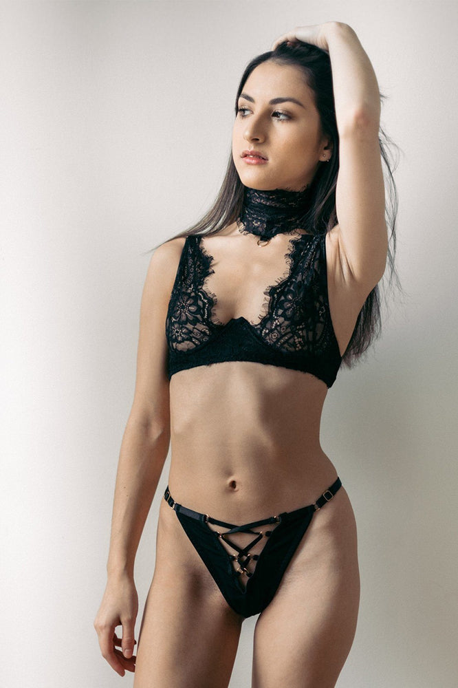 Black Malia 3 Piece Lace Bondage Set