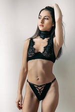 Malia Black 3 Piece Lace Bondage Lingerie Set - Colette And Sebastian