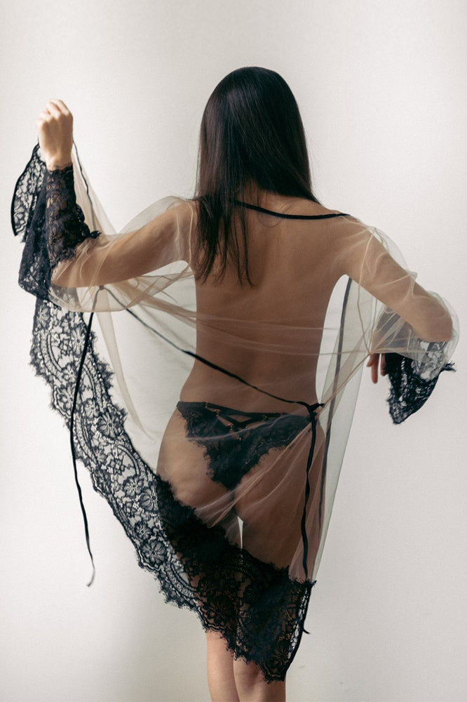 Sheer with Black Lace Malia Robe