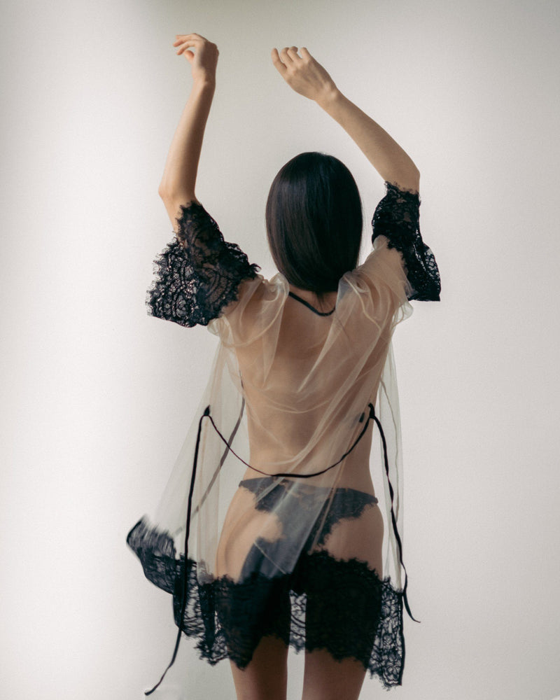 Load image into Gallery viewer, Sheer with Black Lace Malia Robe