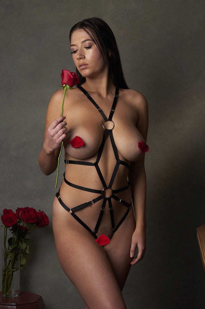 Scarlet Black Erotic Bondage Bodysuit - Colette And Sebastian