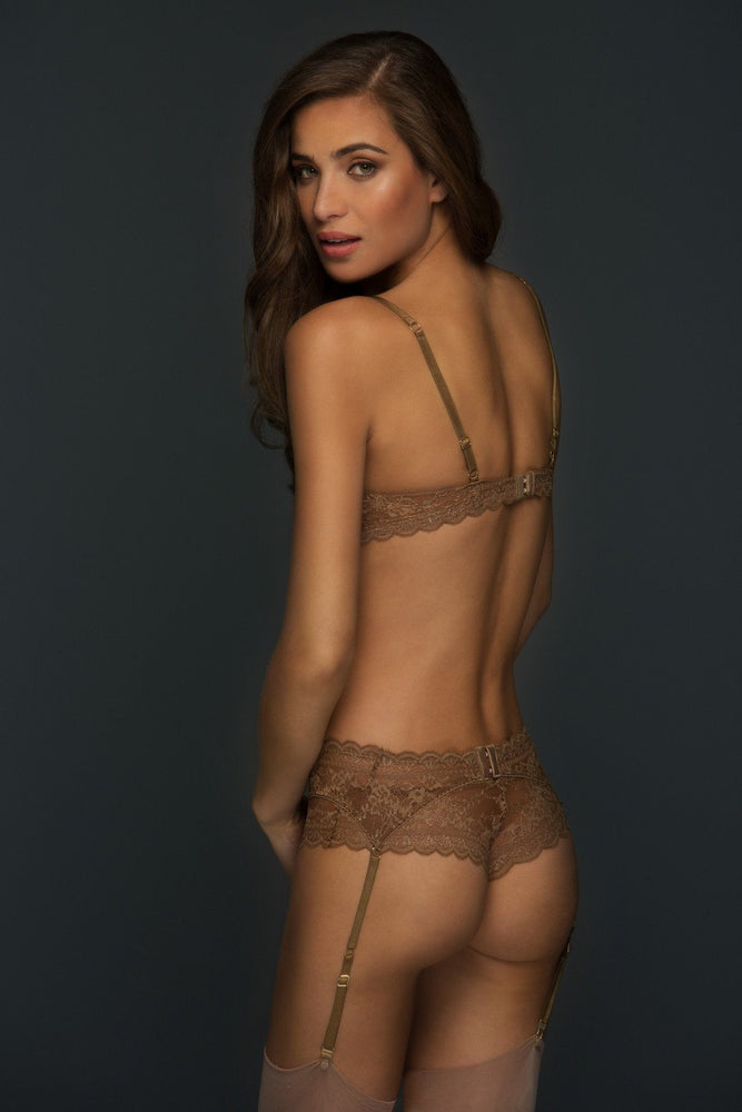 Adriana Brown Lace Suspender Belt - Colette And Sebastian