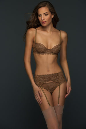 Load image into Gallery viewer, Adriana 3 Piece Brown Lace Lingerie  Set - Colette And Sebastian