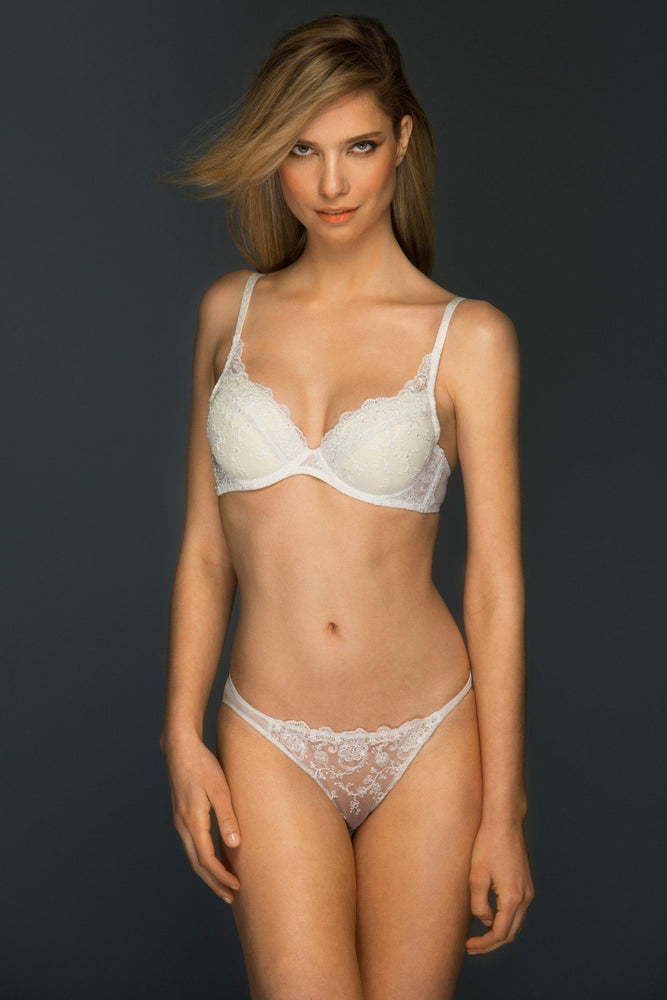Load image into Gallery viewer, Chantal Padded Lace Plunge Bra Lined Bra Colette & Sebastian 34B Ivory Lace: 75% Polyester 25% Polyamide Tulle: 80% Polyamide 20% Elastane Bra Cup: 100% Cotton