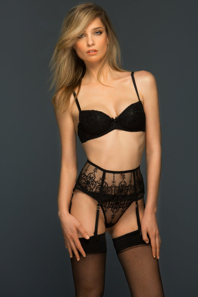 Black Allegra Lace Wide Suspender Belt