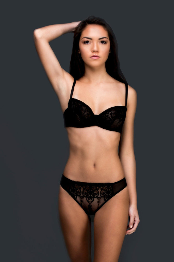 Load image into Gallery viewer, Black Allegra Unlined Balconette Set