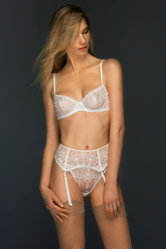 Load image into Gallery viewer, Allegra Embroidered Sheer Lace V Thong - Colette And Sebastian
