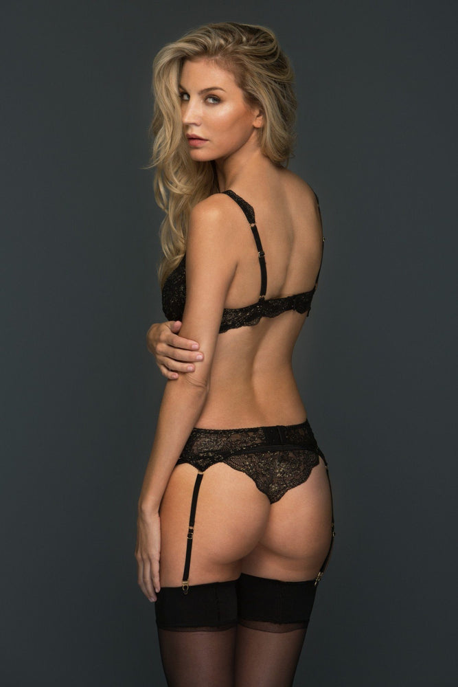 Andriele Black and Gold Lace Tanga Panty - Colette And Sebastian