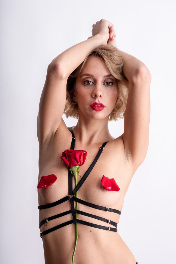 Load image into Gallery viewer, Anna Black Strappy Bondage Harness Lingerie Set - Colette And Sebastian