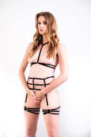 Load image into Gallery viewer, Ashley Black Bondage Strappy Lingerie Set - Colette And Sebastian