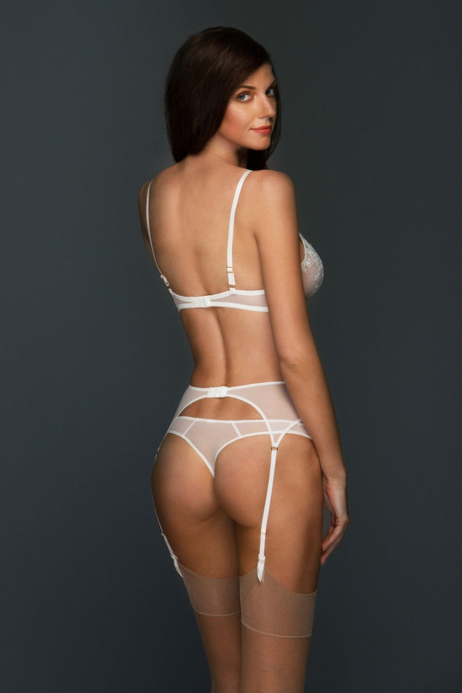 Chantal Embroidered Lace Narrow Suspender Belt - Colette And Sebastian