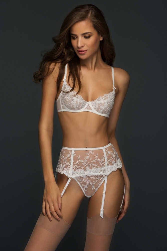 Chantal Embroidered Lace Wide Suspender Belt - Colette And Sebastian