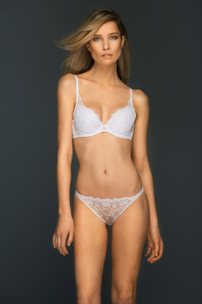 Load image into Gallery viewer, Chantal Padded Lace Plunge Bra Lined Bra Colette & Sebastian 34B White Lace: 75% Polyester 25% Polyamide Tulle: 80% Polyamide 20% Elastane Bra Cup: 100% Cotton