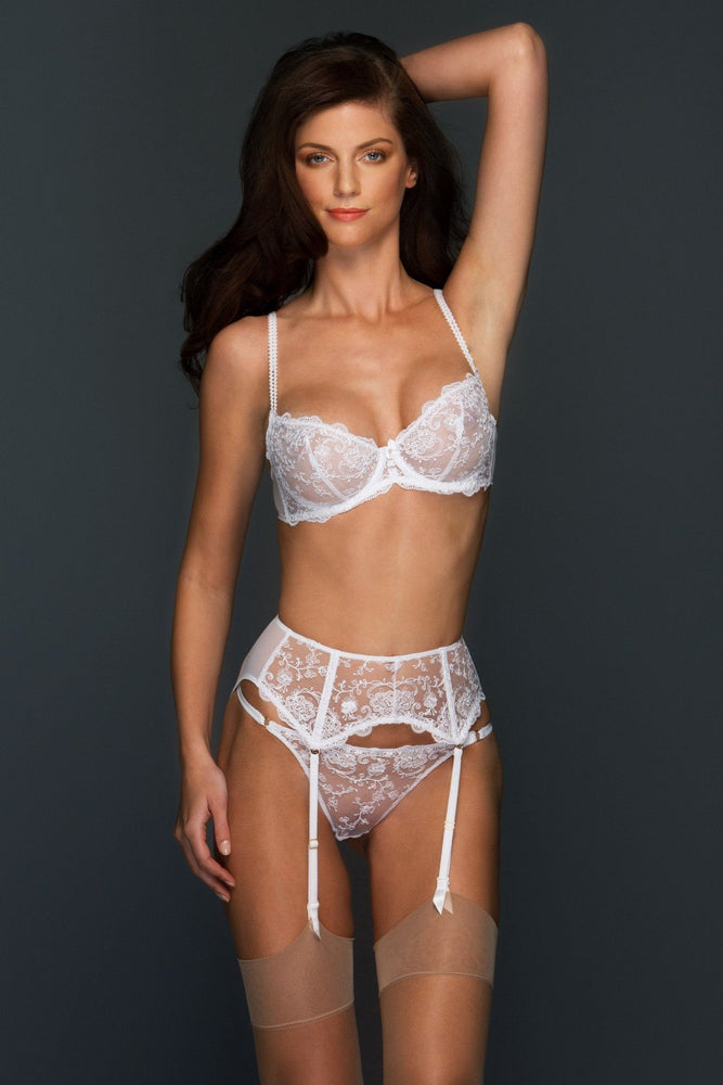 Chantal Embroidered Lace V Thong - Colette And Sebastian