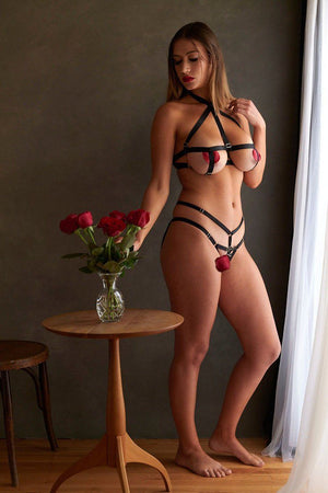 Load image into Gallery viewer, Gigi Underwire Open Cup Bondage Lingerie Set - Colette And Sebastian