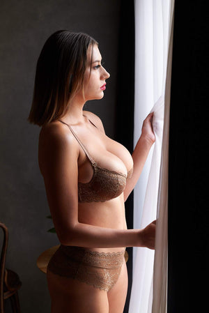 Load image into Gallery viewer, Jasmine Bra And Panty Brown Lace Lingerie Set - Colette And Sebastian