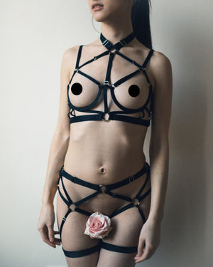 Load image into Gallery viewer, Kiki Strappy Black Bondage Lingerie Set Set Colette & Sebastian