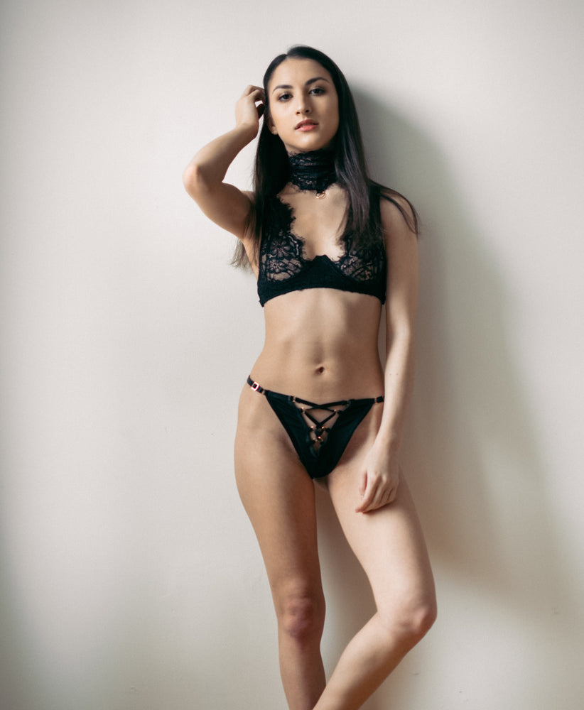 Malia Black Lace Tanga Panty - Colette And Sebastian
