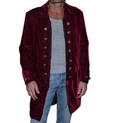 Jacket - Iconic 60's era Velvet Frock Coat in Burgundy by Rock Roll n Soul