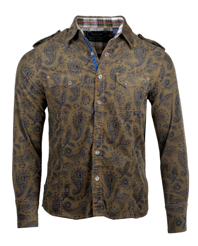 Men's Casual Fashion Button Up Shirt - Paisley Mini Corduroy by Rock Roll n Soul