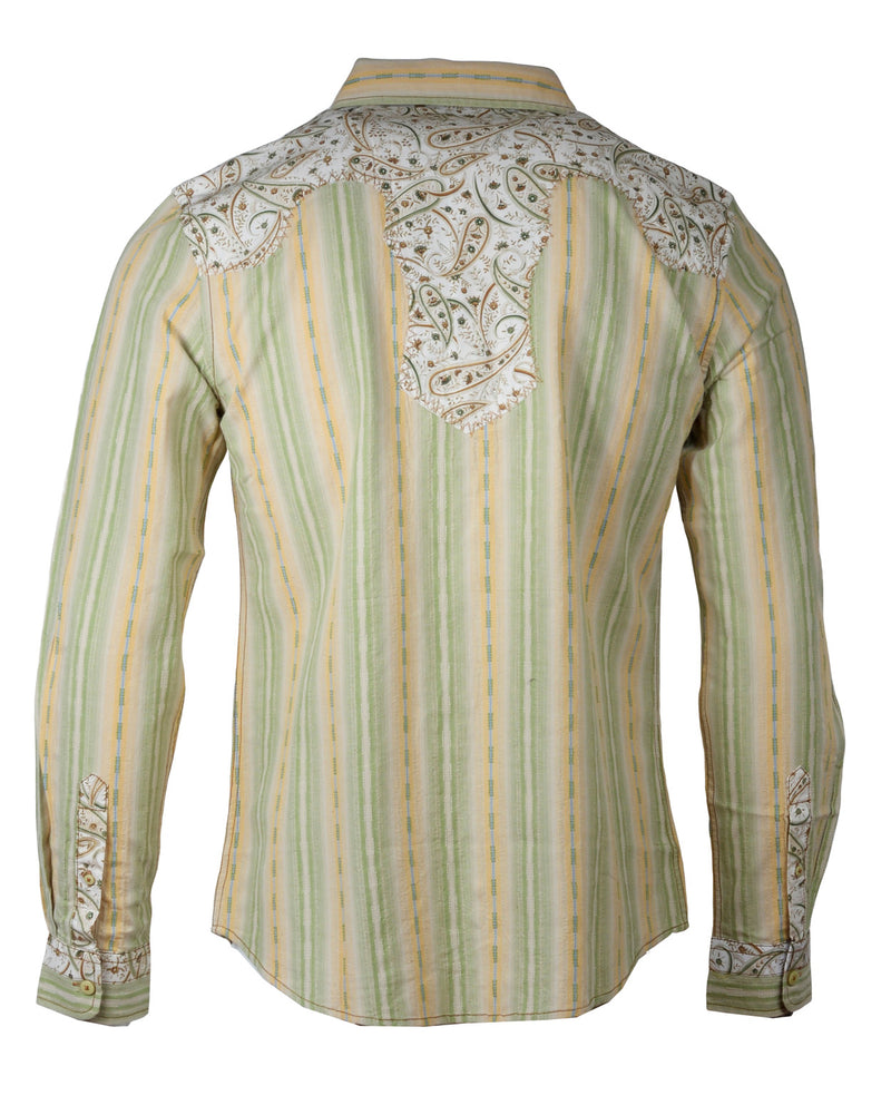 Men's Western Button Up Shirt - Western Back in the Saddle Again Beige/Green by Rock Roll n Soul