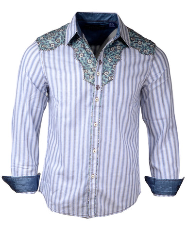Men's Western Button Up Shirt - Western Back in the Saddle Again in White by Rock Roll n Soul1