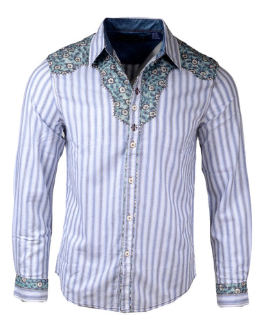 Men's Western Button Up Shirt - Western Back in the Saddle Again in White by Rock Roll n Soul