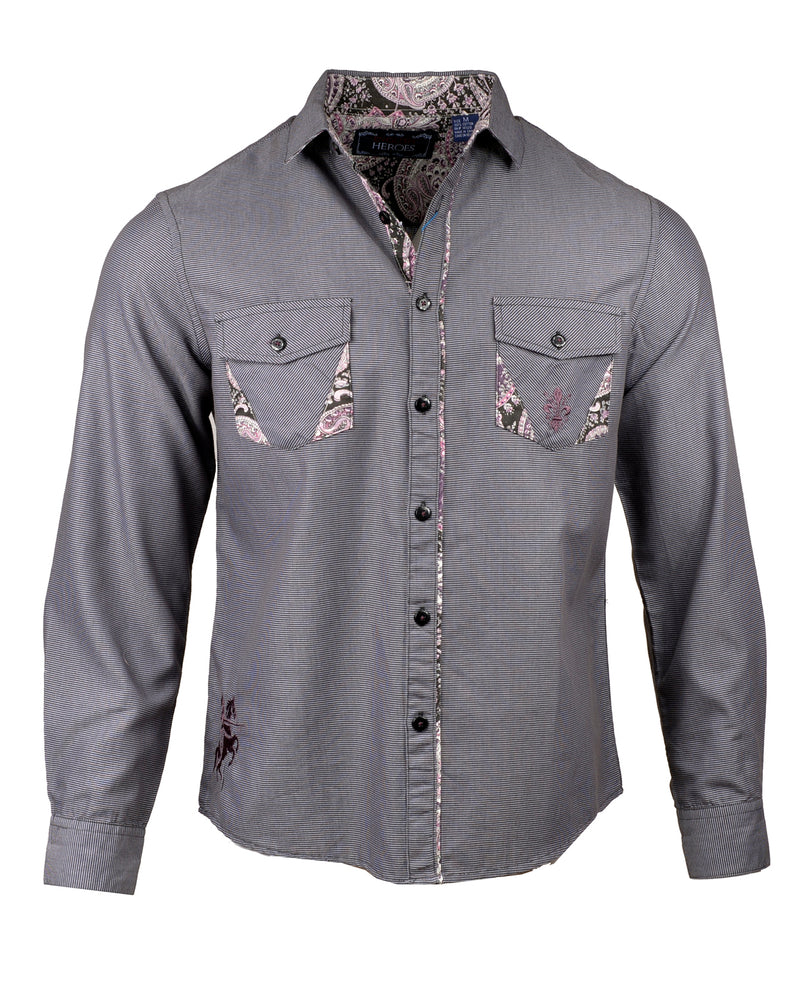 Men's Casual Fashion Button Up Shirt - Gimme Shelter by Rock Roll n Soul