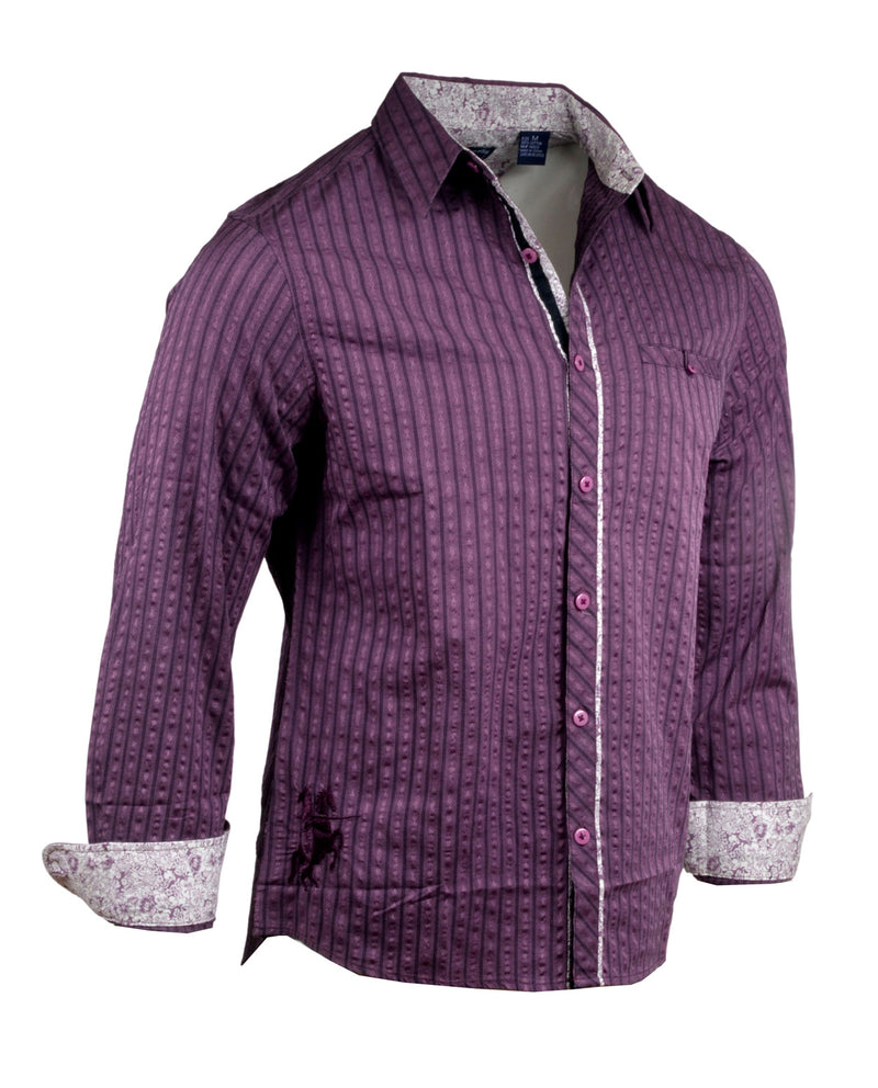 Men's Casual Fashion Button Up Shirt - Purple Rain English Heroes by Rock Roll n Soul1
