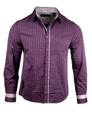 Men's Casual Fashion Button Up Shirt - Purple Rain English Heroes by Rock Roll n Soul