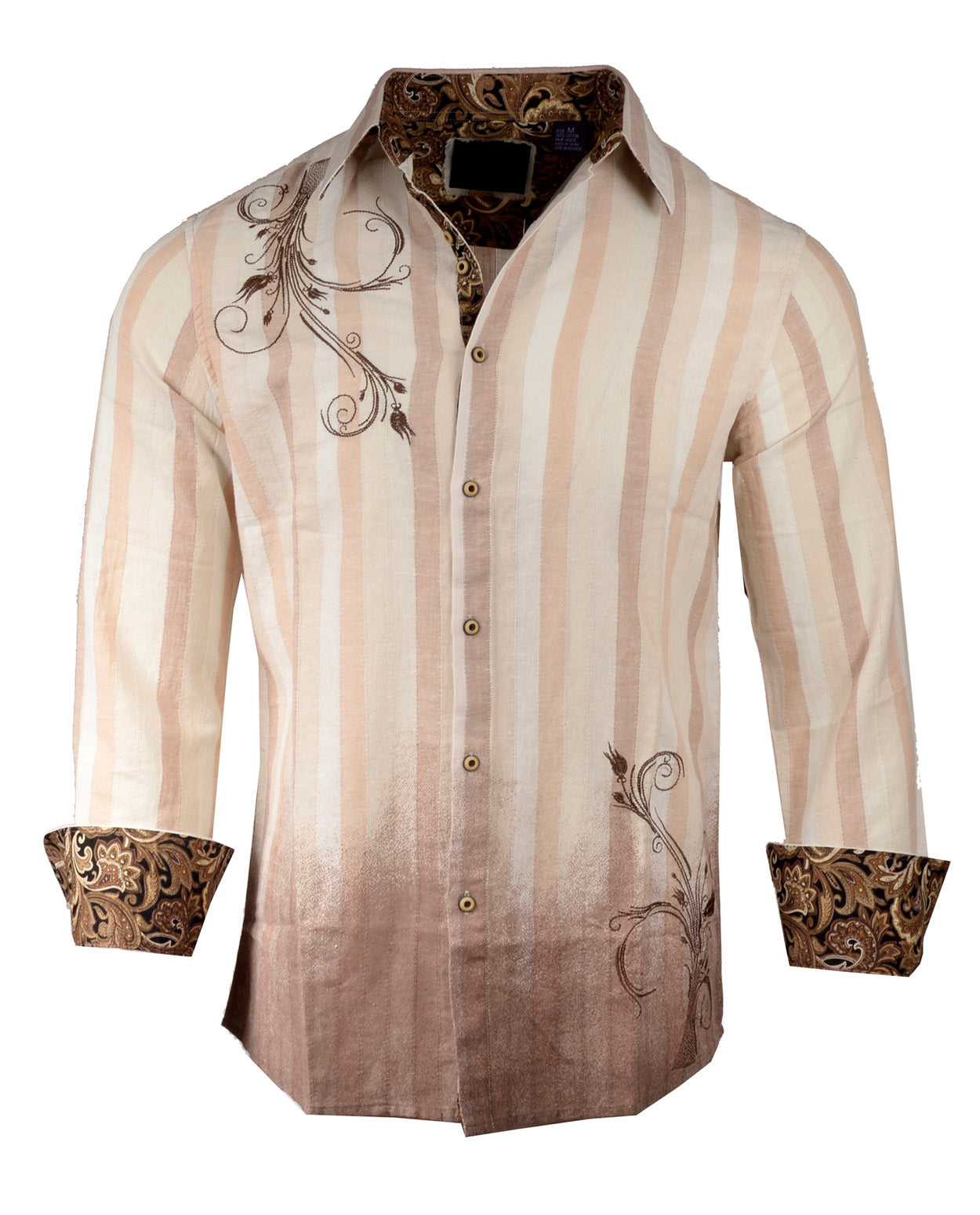 Men's Casual Fashion Button Up Shirt - 'Touch Me' Dip dyed Beige by Rock Roll n Soul