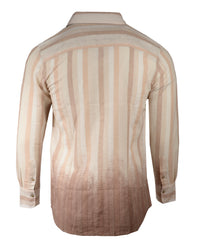 Men's Casual Fashion Button Up Shirt - 'Castles made of Sand' Dip dyed Beige by Rock Roll n Soul