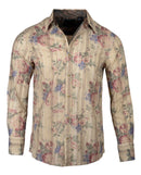 Men's Casual Fashion Button Up Shirt - 'Rock and Roll All Night' in Beige by Rock Roll n Soul2