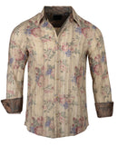 Men's Casual Fashion Button Up Shirt - 'Rock and Roll All Night' in Beige by Rock Roll n Soul