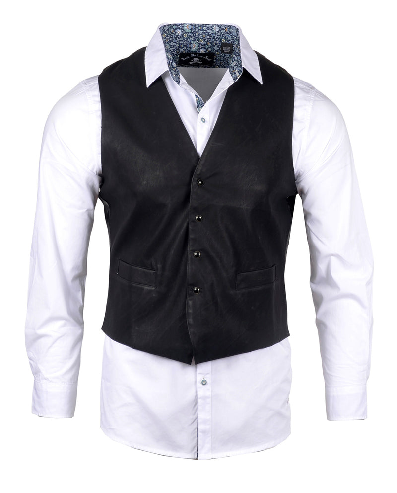Men's Casual Fashion Button Up Shirt - Vest 'Hell Bent for Leather' by Rock Roll n Soul