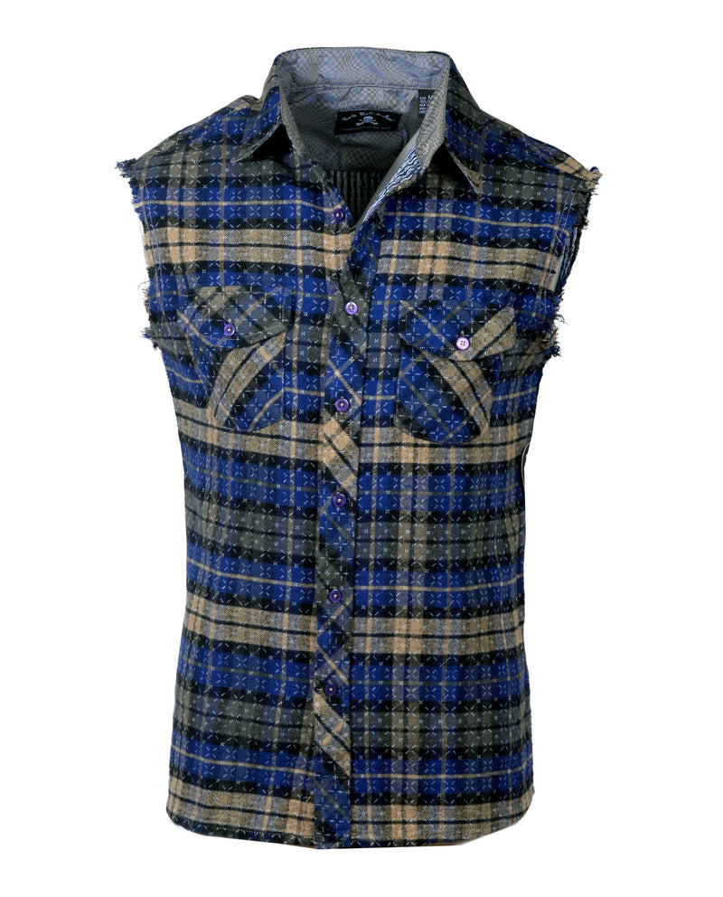 Men's Casual Fashion Button Up Sleeveless Shirt - Wildside in Navy by Rock Roll n Soul