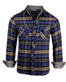 Men's Casual Flannel Fashion Button Up Shirt - Get Rhythm in Navy  by Rock Roll n Soul1