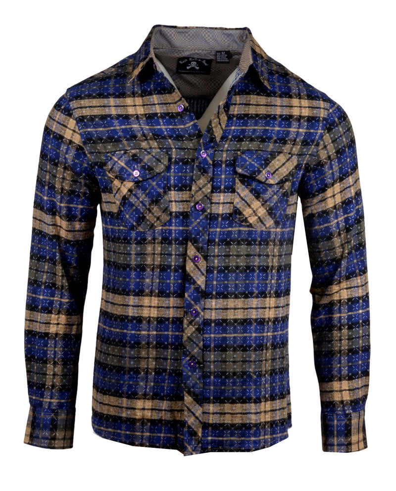 Men's Casual Flannel Fashion Button Up Shirt - Get Rhythm in Navy  by Rock Roll n Soul