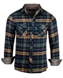 Men's Casual Flannel Fashion Button Up Shirt - Get Rhythm in Olive  by Rock Roll n Soul1