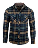 Men's Casual Flannel Fashion Button Up Shirt - Get Rhythm in Olive  by Rock Roll n Soul