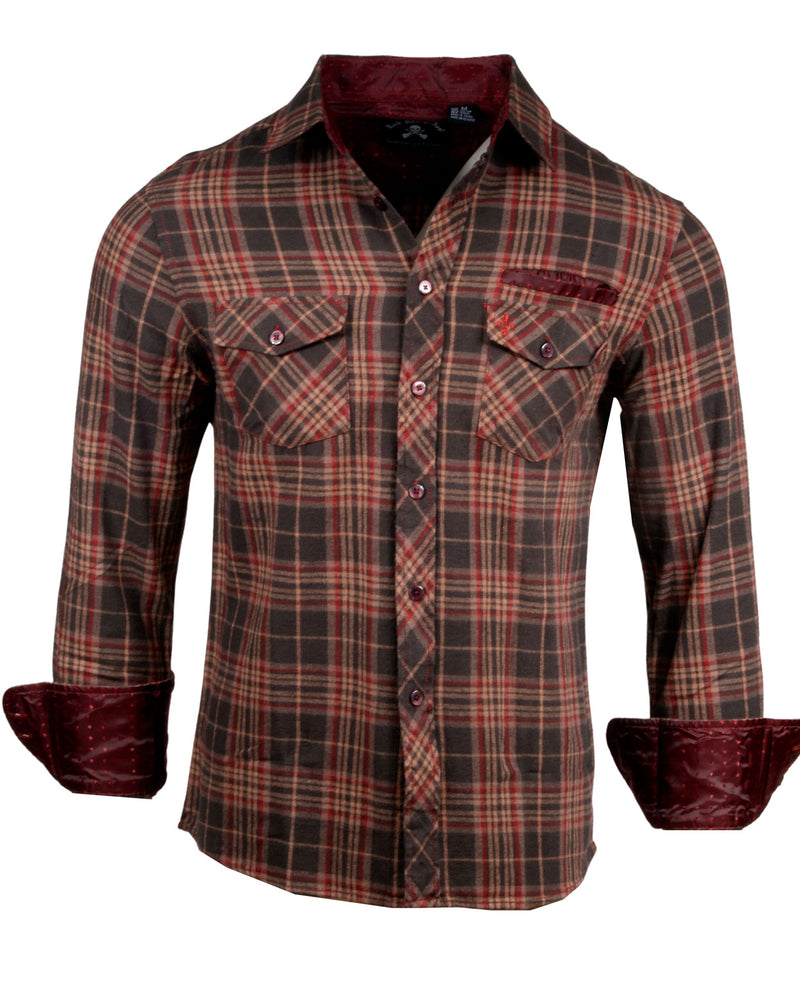 Men's Casual Flannel Fashion Button Up Shirt - Dont take your guns in Brown  by Rock Roll n Soul1