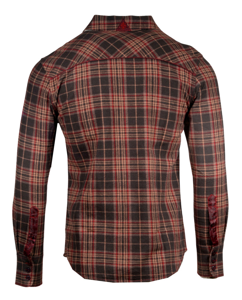 Men's Casual Flannel Fashion Button Up Shirt - Dont take your guns in Brown  by Rock Roll n Soul2