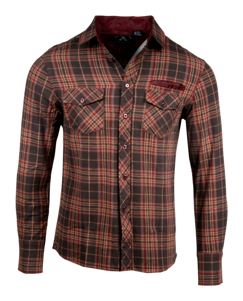 Men's Casual Flannel Fashion Button Up Shirt - Dont take your guns in Brown  by Rock Roll n Soul