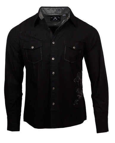 Men's Casual Fashion Button Up Shirt - Highway to Hello by Rock Roll n Soul