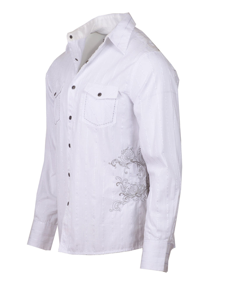 Men's Casual Fashion Button Up Shirt - Highway to Hello White by Rock Roll n Soul