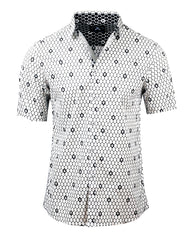 Men's Casual Fashion Button Up Shirt - S/S Overkill White Skull by Rock Roll n Soul